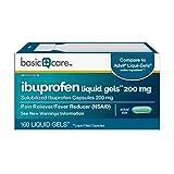 Amazon Basic Care Ibuprofen Liquid Gels 200 mg, Pain Reliever/Fever Reducer (Liquid Filled Capsules), 160 Count
