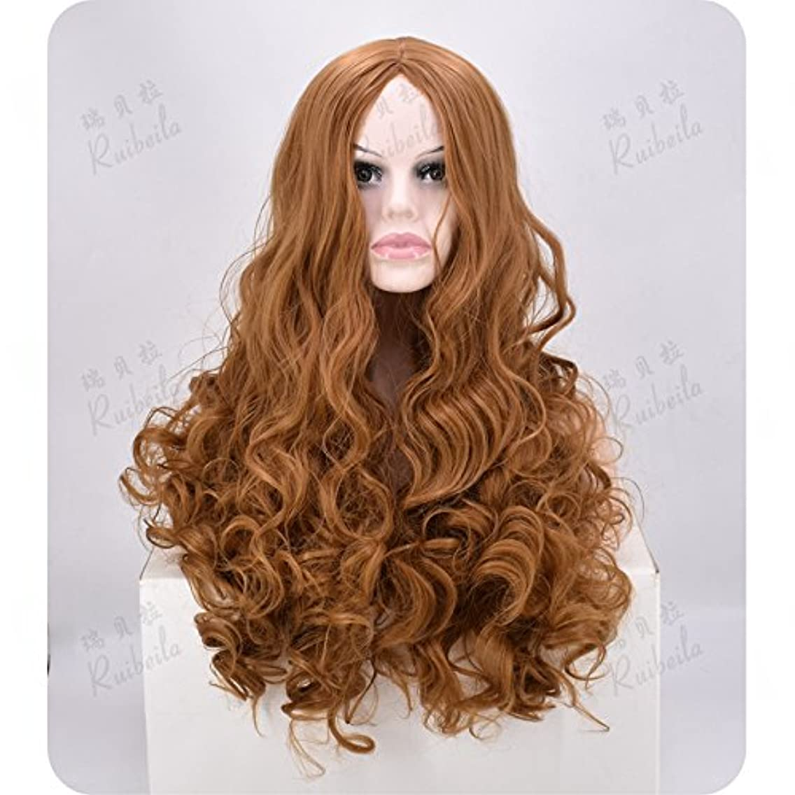 WIAGHUAS Wigs Heat Resistant Women'S Long Curly Hair Wave Curls Natural Fluffy Wig Korean Version,Linen