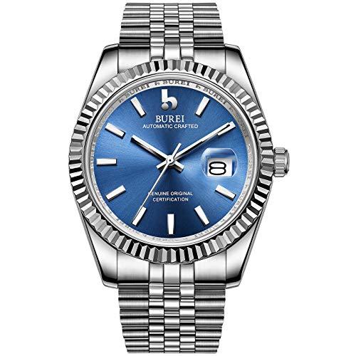 BUREI Hombres Relojes automáticos de Lujo Azul Claro Dial Calendario analógico Visualización de la Ventana Cristal de Zafiro Lente con Banda de Acero Inoxidable Plateado