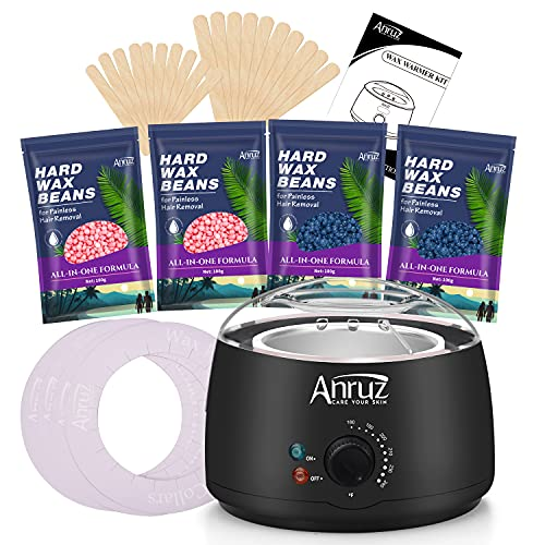 Anruz Waxing Kit,Wax Warmer Hair Removal Kit for Sensitive Skin,4 Packs of Wax Beads(14.1 oz total) for Coarse & Fine Hair,Eyebrow,Facial,Armpit, Bikini,Leg,Brazilian At Home Waxing