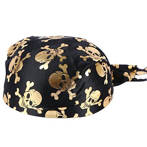 PRETYZOOM Spaß Piratenkostüm Kolonial Hüte Skelett Muster Piraten Zubehör für Halloween oder Jede Partei (Golden)