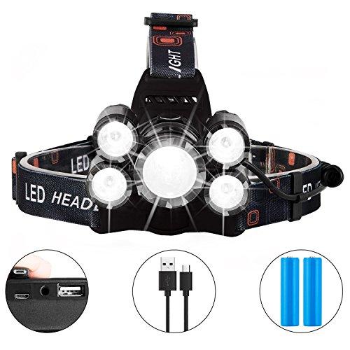 Lampe frontale LED rechargeable, lampe frontale CREE super lumineuse, 8 000 lm, 4 modes, phare étanche focalisable, idéal pour le cyclisme, l'escalade, le camping, la promenade du chien, la randonnée
