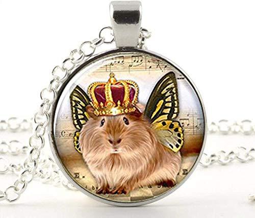 Collar con diseño de cobayas y alas de mariposa, de cristal, con diseño de cobayas