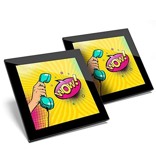Impresionante juego de 2 posavasos de cristal con diseño de cómic y texto en inglés'Pop Art, Telephone Wow Comic' de calidad brillante para cualquier tipo de mesa #24584