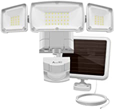 Solar Lights Outdoor, AmeriTop Super Bright LED Solar Motion Sensor Lights with Wide Angle Illumination; 1600LM 6000K, 3 Adjustable Heads, IP65 Waterproof Outdoor Security Lighting (White)
