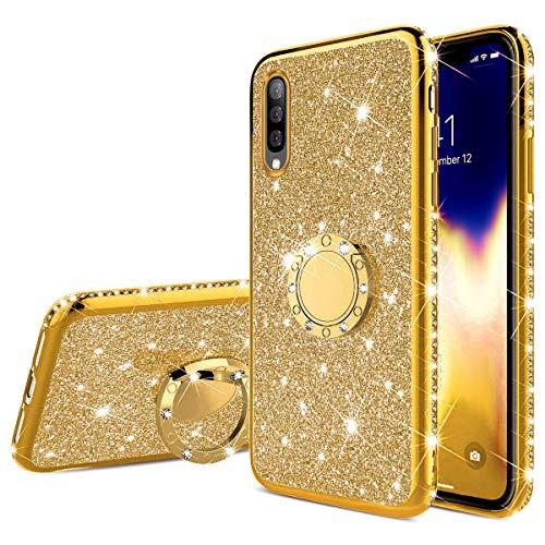 QPOLLY Kompatibel mit Samsung Galaxy A50S Hülle Glitzer Handyhülle Kristall Strass Diamant Überzug Silikon TPU mit 360 Grad Ring Ständer Schutzhülle Tasche Case per Galaxy A50S,Gold