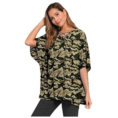Best Price Top for Women Short Sleeve Round Neck Loose Drawstring Lace Batwing Sleeve Shirt Blouse T...