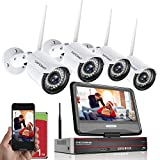 1080P Wireless Home Security Camera System with 10.1' Monitor&1TB Hard Drive,SAFEVANT 8 Channel Outdoor Indoor Video NVR Systems with 4pcs 1080P Night Vision Surveillance IP Camera Motion Detection