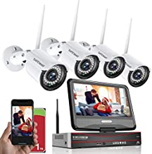 1080P Wireless Security Camera System with Monitor,SAFEVANT 8 Channel Video NVR Systems with 4pcs 1080P Outdoor Indoor Home Surveillance IP Camera Night Vision Motion Detection,1TB Hard Drive