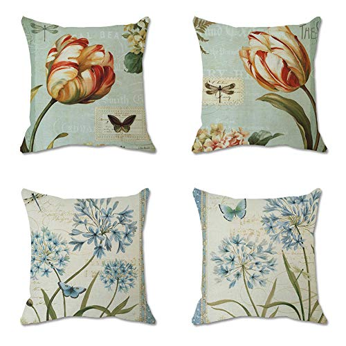 Yunzhi Vintage Flower - Throw Pillow Covers 18x18 Inch Bohemia Decorative Couch Pillow Cases Sea Cotton Linen Case Tuquoise Coastal Square Cushion Covers for Sofa, Bed and Car,Set of 4