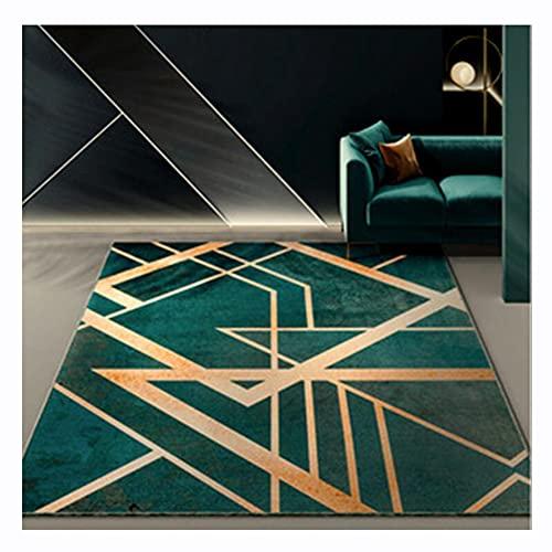 Alfombra de área moderna Alfombras de lujo nórdico verde esmeralda profundo Alfombras geométricas de área de mosaico de mármol blanco con líneas doradas Sala de estar Dormitorio(Size:80x120cm,Color:1)