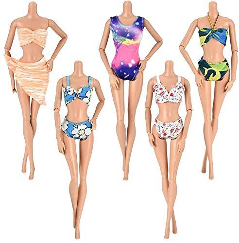 WENTS Kleidung zubehör Set Puppenkleidung Partei-Kleid Outfits und Accessoires für Barbie Puppen Geburtstag Party für 11,5 Zoll Mädchen Puppen Kleidung (5 Badeanzug )