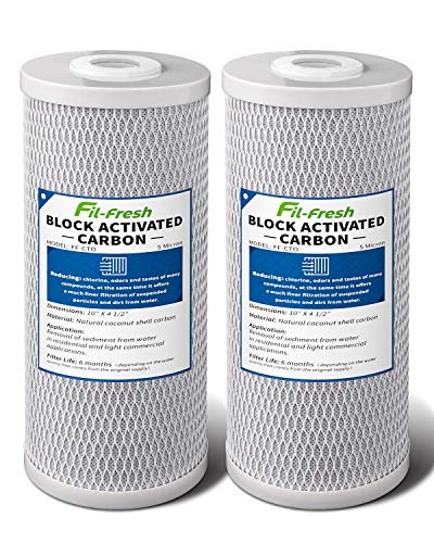 """Fil-fresh 10"""" x 4.5"""" Whole House Water Filter 5 Micron Big Blue Activated Carbon Water Filter Cartridge Replacement Compatible with DuPont WFHDC8001, Pelican CB-BB-10, EPM, EP-BB, 2 Pack"""