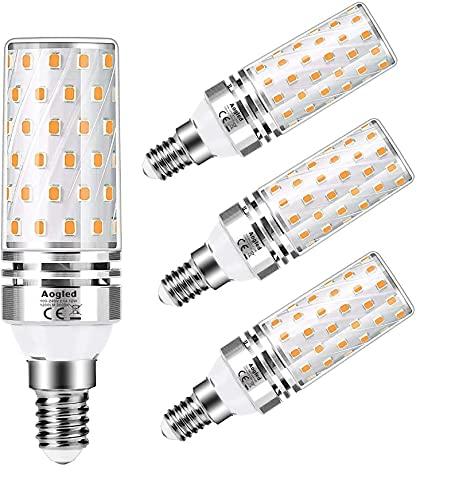 Aogled Lampadine LED E14 12W 3000K,Equivalente 100W Lampada Alogena,Bianco Caldo,1200LM,Angolo 360,Lampadina Edison,Non Dimmerabile,Nessun Sfarfallio,AC100-240V,E14 LED Calda,4 Pezzi