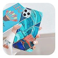 Dhfsy 幾何学的なブルーグリーンパープル大理石の電話ケースiphone11 12 Mini Pro max XR XS MAX X SE 7 8Plus電気メッキ裏表紙-Style 1-For iphone SE 2020