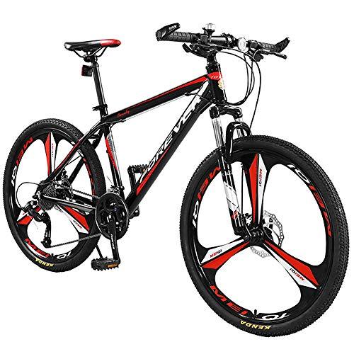 BQSWYD Mountain Bike Hardtail, Dotato di Forcella per Bicicletta MTB Fuoristrada 26 Pollici a 27 velocità/Freno a Doppio Disco in Lega di Alluminio Leggera a Sospensione Completa da Corsa