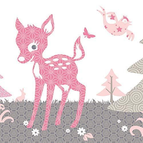 Anna Wand Bordüre selbstklebend REHLEIN ROSA/Taupe - Wandbordüre Kinderzimmer/Babyzimmer mit REH & Waldtieren - Wandtattoo Schlafzimmer Mädchen & Junge, Wanddeko Baby/Kinder