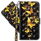 MRSTER Xiaomi Redmi S2 Handytasche, Leder Schutzhülle Brieftasche Hülle Flip Hülle 3D Muster Cover mit Kartenfach Magnet Tasche Handyhüllen für Xiaomi Redmi S2. YX 3D - Golden Butterfly