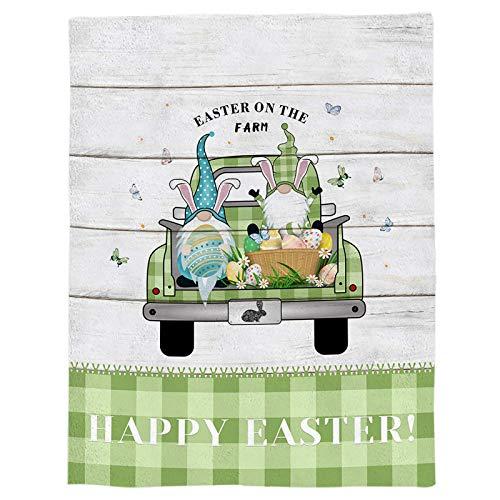 Manta de Franela Farm Easter Truck GNOME Ligera Manta de Cama de Forro Polar Plancha Verde Plaid Manta Suave y cálida Sofá/sofá/Silla para Todas Las Estaciones