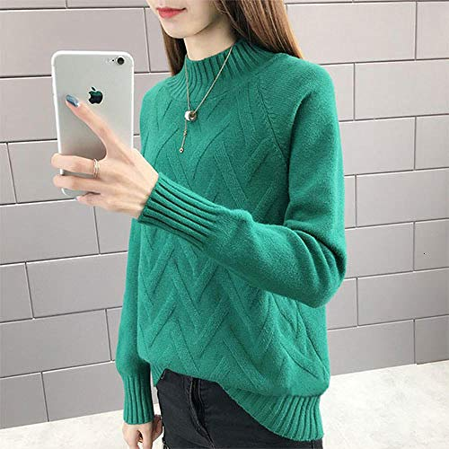 JFHGNJ Fall Winter Pullover Sweater Vrouwen Lange mouwen Coltrui Vrouw Geel Blauw Groen Warm Jumper-Green_The