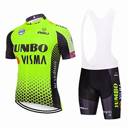 Bike Maillot de Cyclisme à Manches Courtes pour Hommes, Combinaison de Cyclisme à séchage Rapide avec dossard de Cyclisme pour VTT