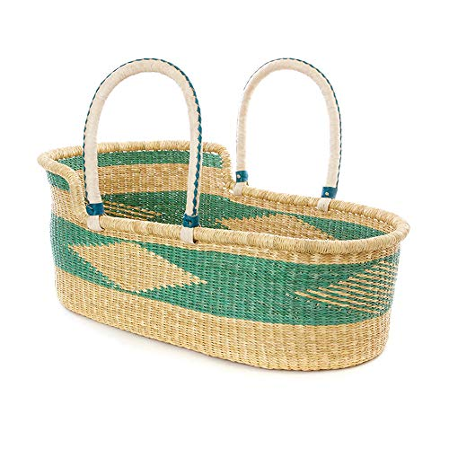 The Go-Anywhere Seafoam Moses Basket Bassinet