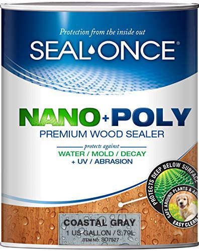 SEAL-ONCE Nano+Poly Ready Mix Penetrating Wood Sealer & Stain with Polyurethane (Coastal Gray) - Water-Based, Low-VOC, Waterproofing for Decks, Fences, siding & Log Homes. (1 Gallon)