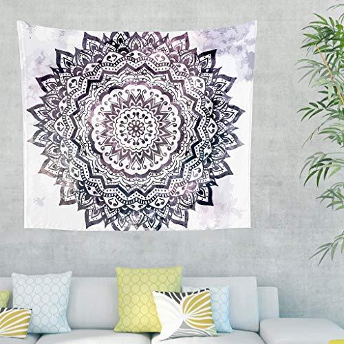 YxueSond - Sofá de salón con diseño de mandala para decoración de ropa de cama, bohemia, rectangular, decoración de playa, dormitorio, Blanco, 40x59inch