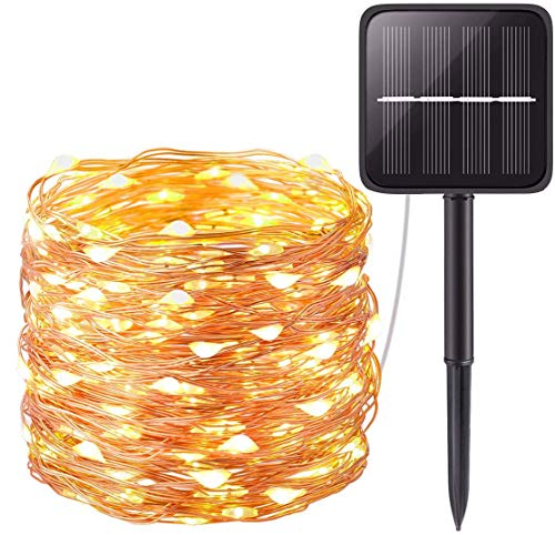 Solar Fairy Lights (Copper Wire), 22 m LED Fairy Lights 200 LEDs Solar with 8 Modes, Waterproof Solar Fairy Lights Garden for Outdoor Balcony Party Christmas Decoration (Warm White) [Energy Class A++]