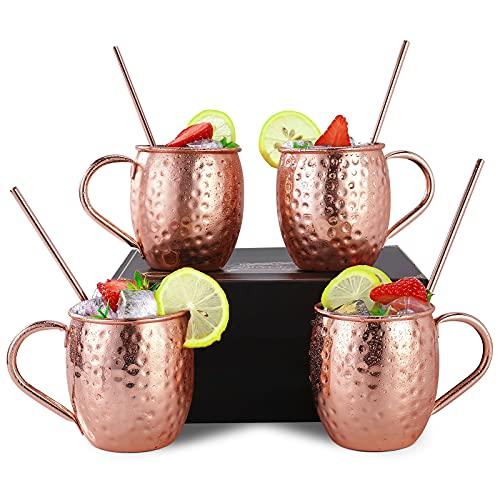 Moscow Mule Becher, 4er Set Kupferbecher 530ML, 4 Trinkhalme in Geschenkbox - Gehämmert Doppelwandig-Handgefertigt-Großartig für Jedes Gekühlte Getränk