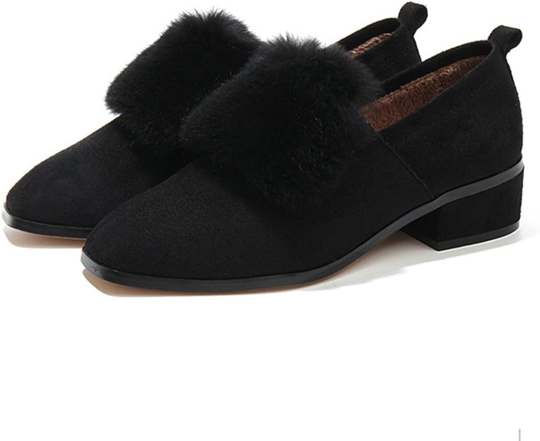 Winter shoes Flat Plus Cashmere Wool shoes Female Scoop shoes Cotton shoes Fashion Loafers shoes Simple Wild Flat shoes Moccasins ( color   Black , Size   5 B(M)US )