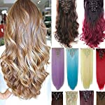 Beauty Shopping 8Pcs 18 Clips 17-26 Inch Curly Straight Full Head Clip in on Hair Extensions Hairpiece