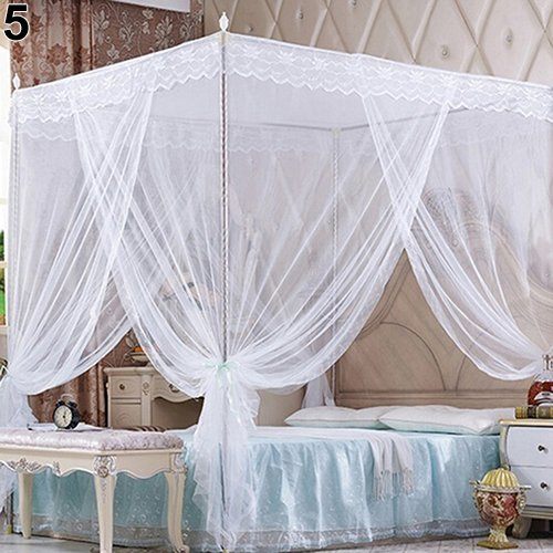 Brussels08 Romantic Princess Lace Canopy Mosquito Net No Frame Mosquito Bed Canopy Net 4 Corner Square Princess Fly Screen Tent for Adults &Girls Boys Twin Full Queen King Bed White King
