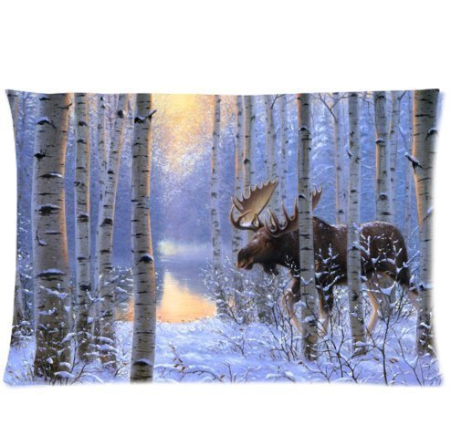 huirong Pillowcase Design Style On The Move Painting Winter Snow Animals Forest Moose Design Pillow Protector, Best Pillow Cover Satin Fabric - Standard Size 20 X 30 inch Two Sides Printing