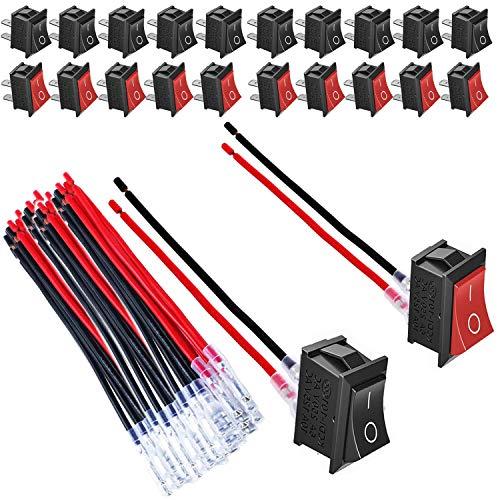 VISSQH 20 pcs Interruptores para Coche,Conmutador Basculante para Coche,10A / 125V, 6A / 250V interruptor basculante 12v, SPST ON-OFF con Precableado (10 Pcs Negro, 10 Pcs Rojo)