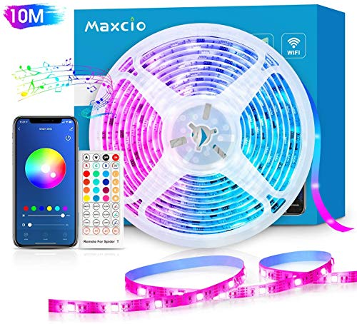 Alexa LED Strip Lichtband 10m, Maxcio Smart RGB Led Streifen mit Fernbedienung, LED Band Lichterkette, Kompatibel mit Alexa, Google Home, Smart Life App, Sync mit Musik für Party, Weihnachten(1x10M)