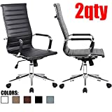 2xhome - Modern High Back Tall Ribbed PU Leather Swivel Tilt Adjustable Chair Designer Boss Executive Management Manager Office Conference Room Work Task Computer (Black x2)