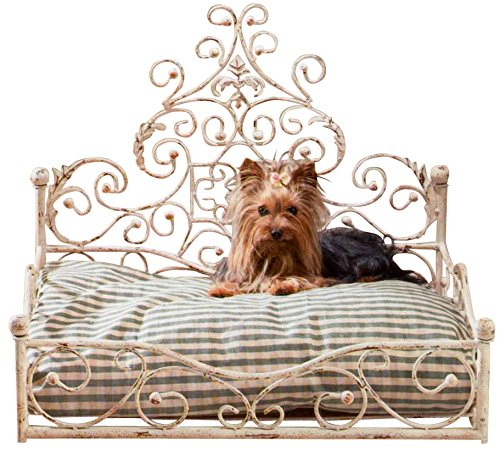 French Iron WHITE SCROLL Dog Pet Cat Bed Victorian Antique Fleur de Lis...