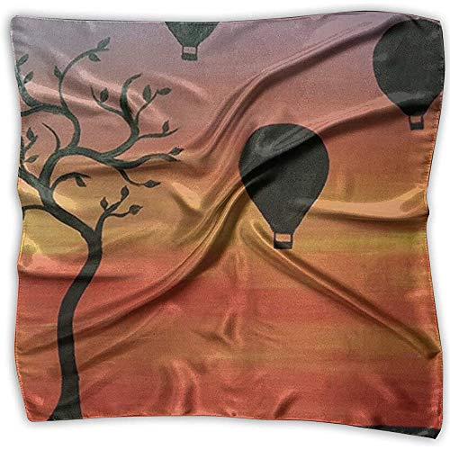 PQU Awesome Silk Bandana,Globos De Turquía Que Pintan El Pañuelo, Pañuelos De Seda Cuadrados De La Novedad para El Deporte Que Corre Escalada,100x100cm