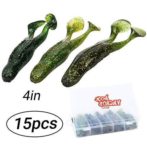 RUNCL Anchor Box - Soft Body Frog, 2 Legged Frog, Soft Frog Lure with Kicking Legs Hook Slot 4in (Pack of 15)