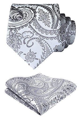 HISDERN Extra lange Blumen Paislry Krawatte Taschentuch Herren Krawatte & Pocket Square Set (Grau)