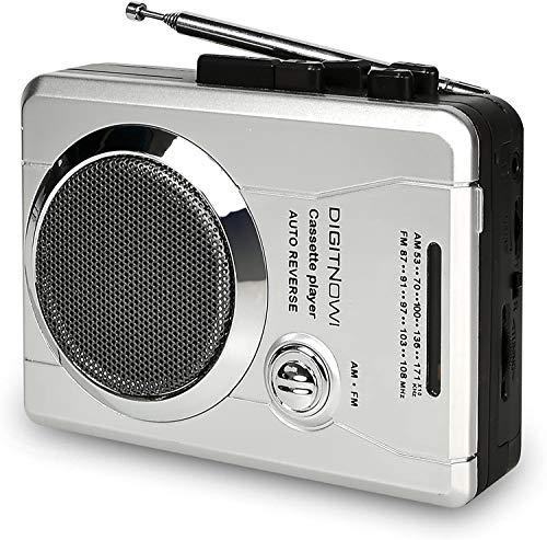 DIGITNOW! Reproductor de Cassette portátil Walkman,Radio Grabadora de Cassette con Auriculares,Radio FM/AM,Micrófono,Grabadora de voz,con Bucle de Reproducción de Cinta, Avance y Retroceso