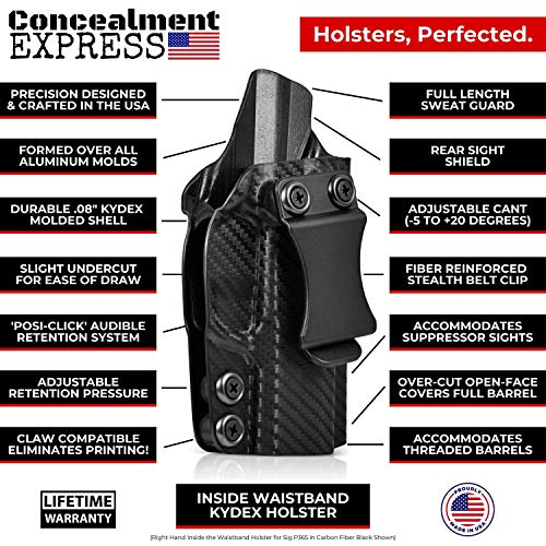5. Concealment Express IWB KYDEX Holster fits Glock 19/19X/23/32/45 (G1-5) | Right | Black