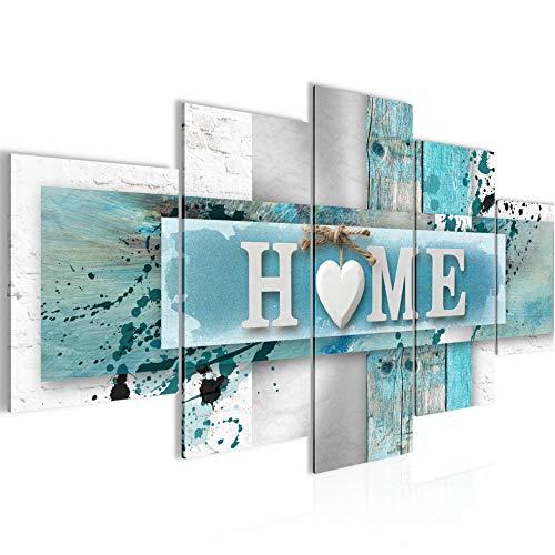 Home Herz Bild Vlies Leinwandbild 5 Teilig Vintage Blau Grau Schlafzimmer Flur 504553a
