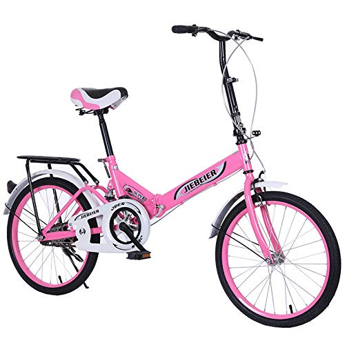 Darkduke Folding Bike Lightweight Aluminum Frame for Adults Men and Women, 16/20in City Folding Mini Compact Bike Bicycle Urban Commuter with Back Rack, Folded Within 10 Seconds (Pink,20 Inch)