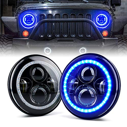 Xprite 7' 90W CREE LED Headlights with Blue Halo Ring Angel Eyes for 1997 - 2018 Jeep Wrangler JK TJ LJ(DOT Approved), 9600 Lumens Hi/Lo Beam Head lamp