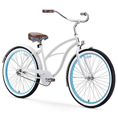 sixthreezero Women's Single Speed Beach Cruiser Bicycle, BE White/Blue, 26' Wheels/17' Frame