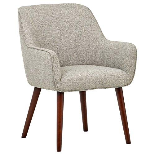 Rivet Julie Mid-Century Modern Slope Accent Kitchen Dining Room Chair, 34'H, Light Grey