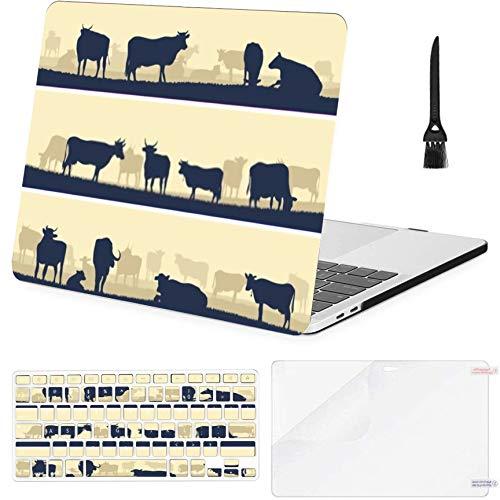 Macbook Pro 15'Retina (2013-2015) con Pantalla Retina, Estuche A1398, pancartas vectoriales horizontales de plástico con Siluetas Estuche rígido de Animales pastando con Cubierta para Teclado, prote