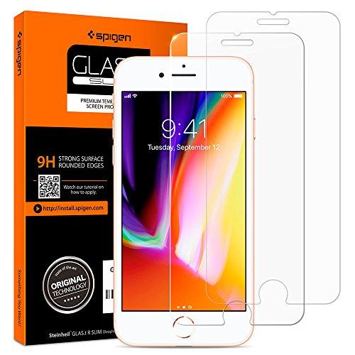 Spigen Verre Trempé Compatible avec iPhone 8, iPhone 7, 2 Pièces, Résistant aux Rayures, 9H Protection écran